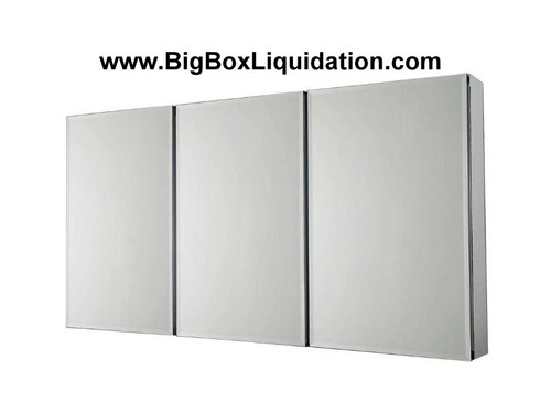 48 in. W x 26 in. H Frameless Recessed or Surface-Mount Tri-View Bathroom Medicine Cabinet with Beveled Mirro