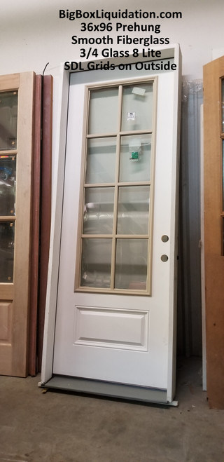 36 in. x 96 in. Clear Glass Left Hand 3/4s-Glass 8 Lite SDL 6 9/16s in. Jambs Smooth Fiberglass Prehung Front Entry Door