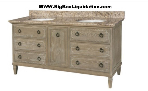 Solid Wood Ann Stained Weathered Gray 60 in. x 22 in., All Drawers Slow Close, Fully Assembled, Bath Vanity Cabinet Only  Pallet Shipping to Your Location Available, 615-800-1646