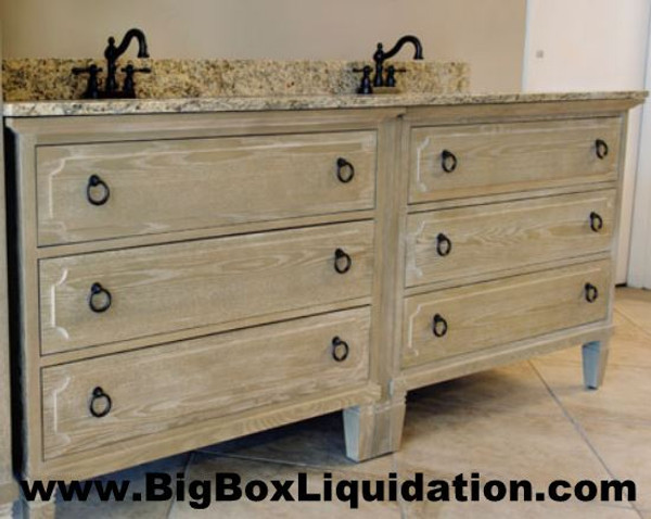 Solid Wood Ann Stained Weathered Gray 72 in. x 22 in., All Drawers Slow Close, Fully Assembled, Bath Vanity Cabinet  Pallet Shipping to Your Location Available, 615-800-1646