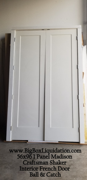 56 in. x 96 in. Craftsman Shaker 1-Panel Both Active Hollow Core Double Prehung Interior French Door with Matching Satin Nickel Hinges and Ball & Catch  www.BigBoxLiquidation.com