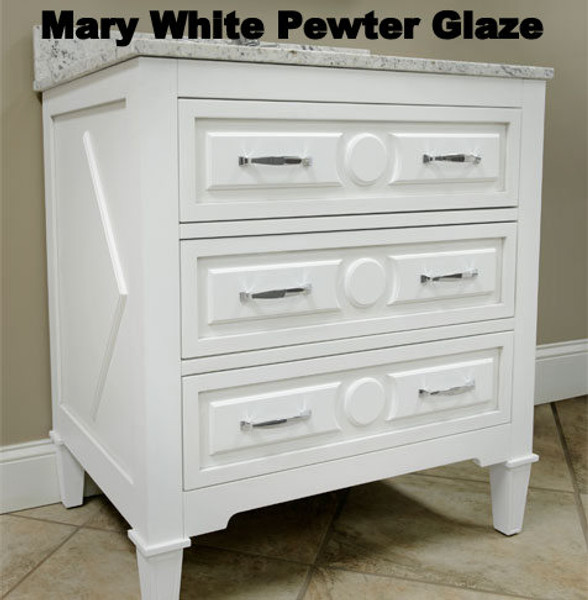 Solid Wood Mary Soft White Finish -30 in. x 22 in., All Drawers Slow Close, Fully Assembled, Bath Vanity Cabinet Only  Pallet Shipping to Your Location Available, 615-800-1646