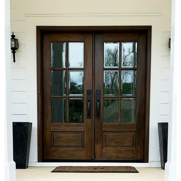 60 in. x 80 in. Prehung Double Unfinished Wood Mahogany Exterior Double Front Entry Door, 6 Lite Beveled Insulated Glass, 1 Panel Raised, True Divided Lite TDL, Both Doors Open Interior