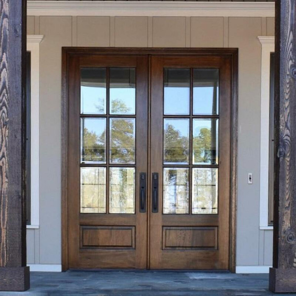 64 in. x 80 in. Prehung Double Unfinished Wood Mahogany Exterior Double Front Entry Door, 6 Lite Beveled Insulated Glass, 1 Panel Raised, True Divided Lite TDL, Both Doors Open Interior