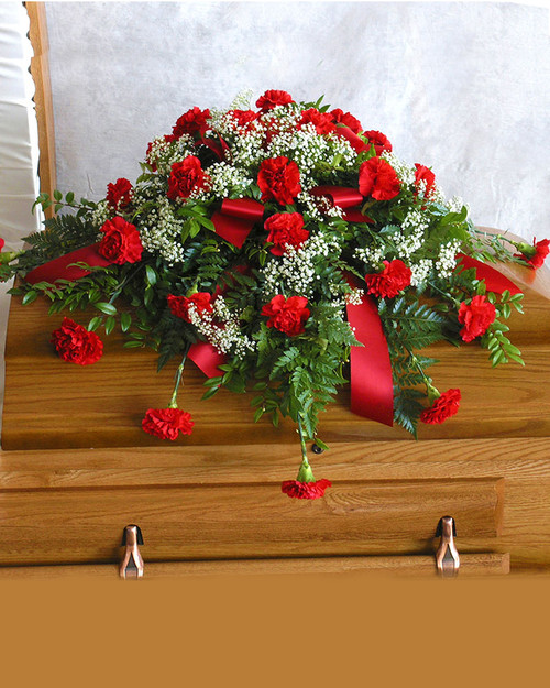 Carnation Casket Spray-T242-2E