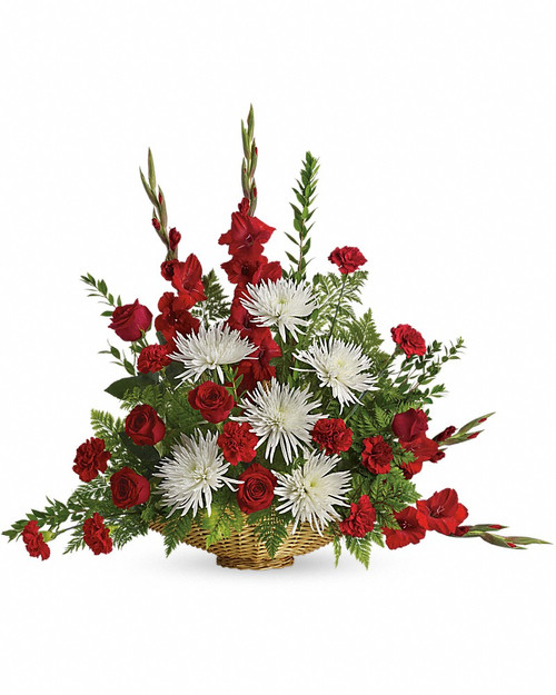 Red and White Sympathy Basket-FNFSB-32