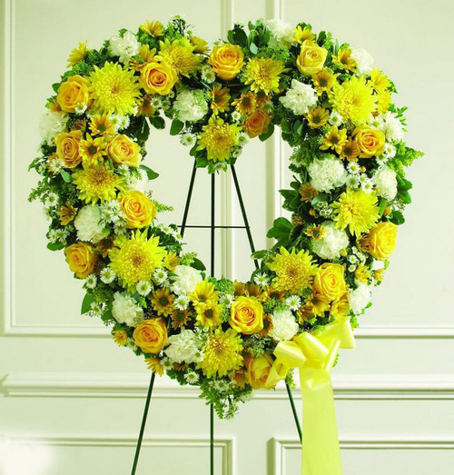 Yellow and White Hollow Heart-FNHOL-010