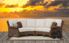 Santa Cruz 2 Piece Curved Sectional with cushions in Canvas Flax with self welt