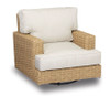 Leucadia Swivel Rocking Club Chair with cushions in Canvas Flax with self welt