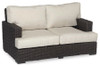 Cardiff Loveseat with cushions in Canvas Flax with self welt
