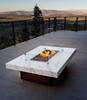 Montecito fire pit with Neolith Calacatta top and black base size 42x60x17