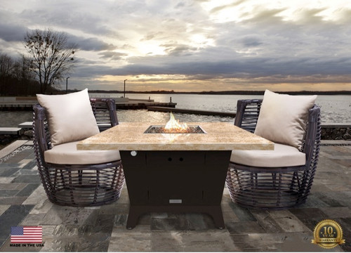 """COOKE Parkway Square Fire Pit Table  - 44"""" x 44"""" - Dining Height"""