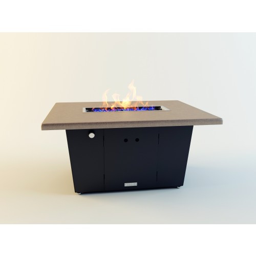 Palisades Rectangular Fire Pit Table - Shown With Beige Powdercoat Top and Bronze Powdercoat Base