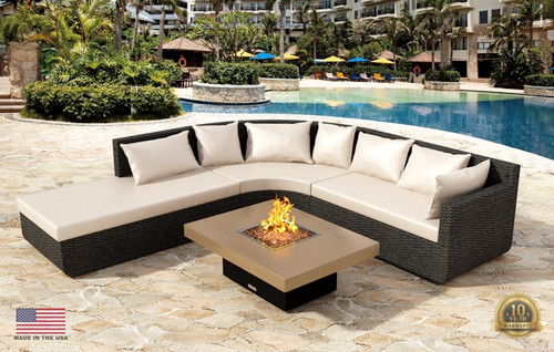 "COOKE Santa Barbara Rectangular Fire Pit Table - 48"" x 36"" - Lounge Height"
