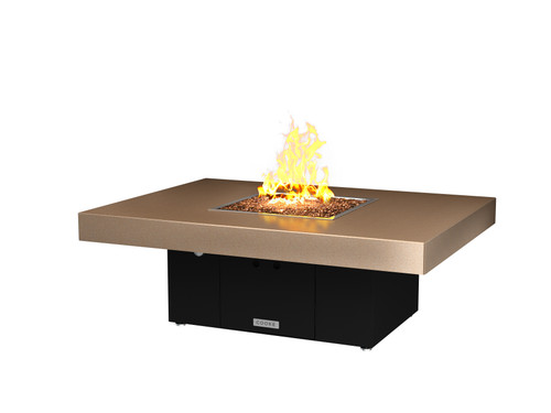 Santa Barbara Rectangular Fire Pit Table Shown With Beige Top And Bronze Base