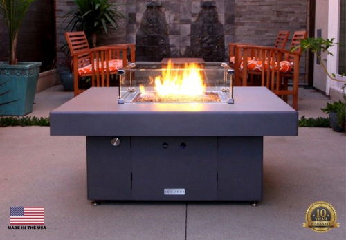 "COOKE Santa Barbara Square Fire Pit Table - 40"" x 40"" - Lounge Height"