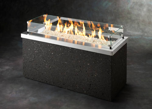 Key Largo Fire Pit w/SS top, grey tereneo base, CF-1242 & auto itgnition system.   Burner cover not included.