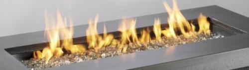 "Outdoor Greatroom - 12"" x 42"" Rectangular Crystal Fire SS Burner w/Glass Fire Gems"