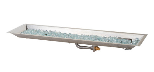 """Outdoor Greatroom -12"""" x 42"""" Rectangular Crystal Fire Burner with Glass Fire Gems - Multiple Color Options"""