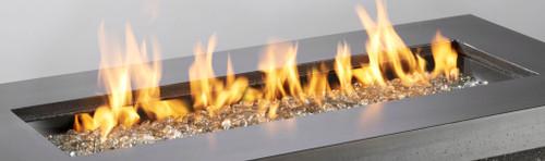"OGR 12"" x 42"" Rectangular Crystal Fire Burner with Glass Fire Gems - Multiple Color Options"