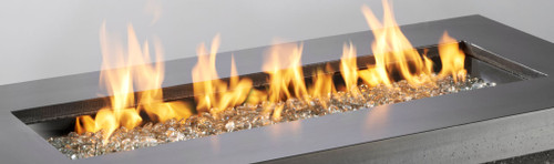 "Outdoor Greatroom -12"" x 42"" Rectangular Crystal Fire Burner with Glass Fire Gems - Multiple Color Options"