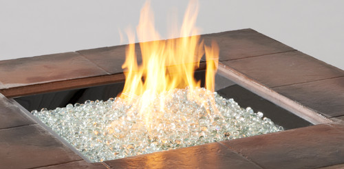 "OGR 24"" x 24"" Square Crystal Fire Burner with Glass Fire Gems - Multiple Color Options"