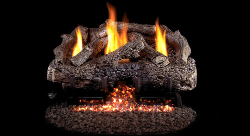 """AFD- Charred Frontier Oak (Vent Free) Log Sets for Fireplaces - Size 30"""""""