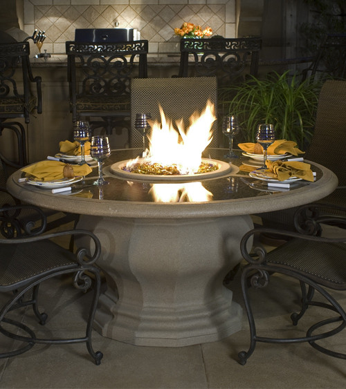 American Fyre Designs - Inverted Dining Firetable With Concrete Top