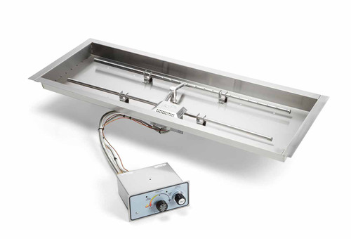 "HPC 36"" x 14"" Rectangle Bowl Pan Insert - Push Button Ignition"