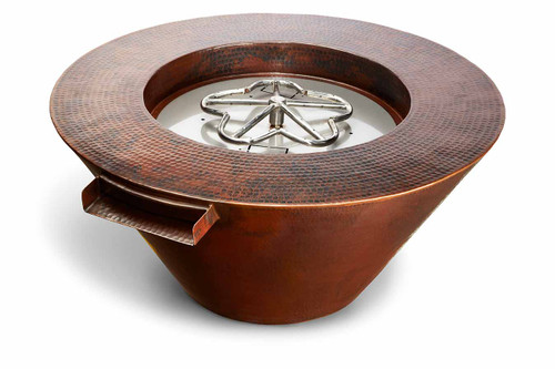 "HPC - 32"" Mesa Copper Round Fire & Water Bowl- Electronic Ignition"
