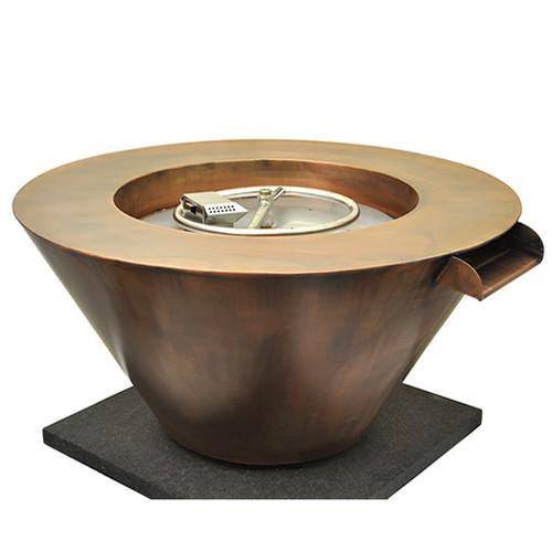 "HPC 32"" Mesa Copper Round Fire & Water Bowl- Match Lit"