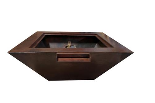 """HPC - 40"""" Sedona Copper Square Fire & Water Bowl- EI"""