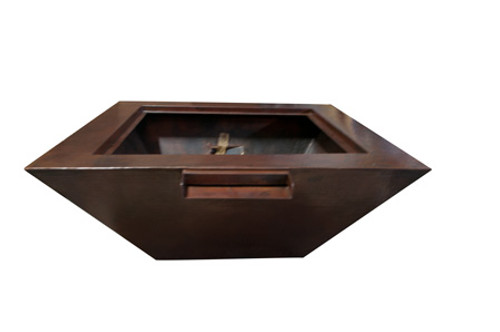 "Hearth Products Controls - 40"" Sedona Copper Square Fire & Water Bowl- Match Lit"