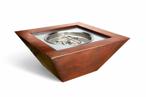 36 inch Sierra Square Copper Gas Fire Bowl Package By HPC