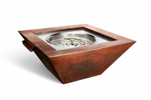 "Hearth Products Controls - 36"" Sierra Copper Square Fire & Water Bowl - Match Lit"