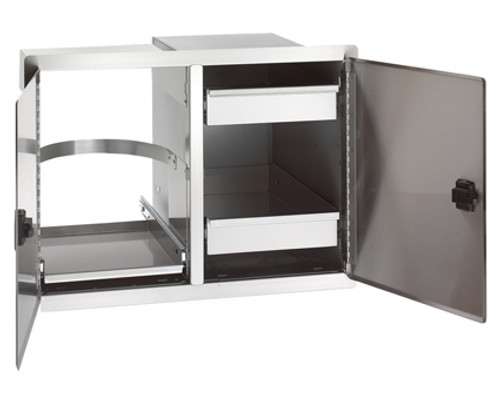 Legacy Double Doors with Dual Drawers & Trash Tray - open