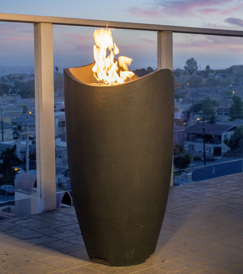 American Fyre Designs Wave Fire Feature shown in Black Lava-Heavy Texture