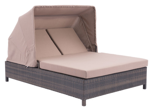 Siesta Key Double Chaise Lounge Brown