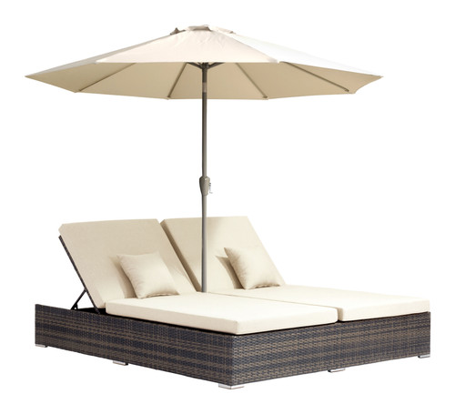 Atlantic Double Chaise Lounge Brown