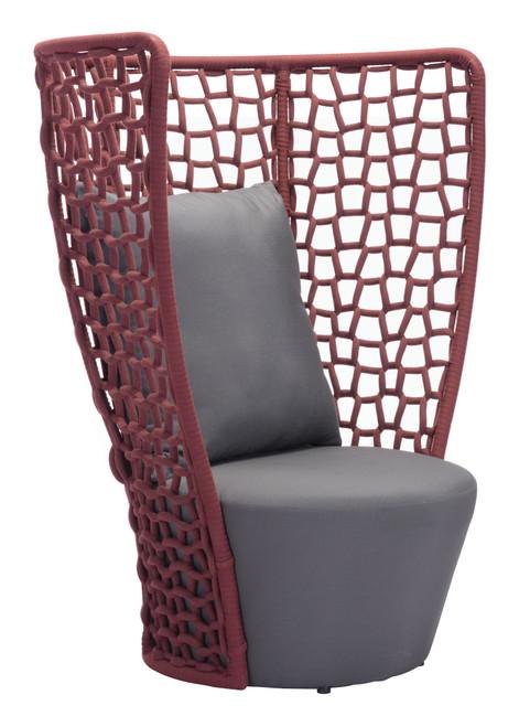 Faye Bay Beach Chair Cranberry & Gray