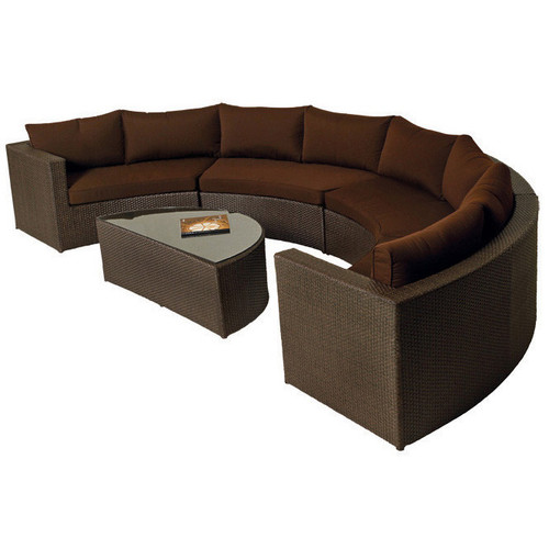 Evans Lane - Cruz Bay 4 Piece Demi Lune Sectional