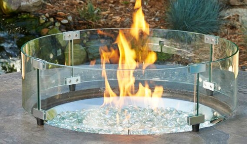 """Round Glass Guard Fencing for 25"""" Round Burner Pan"""