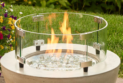 """Outdoor Greatroom - Round Tempered Glass Wind Guard for 12"""" Burner"""