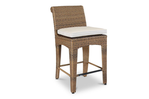 Santa Cruz Counter Stool with cushions in Canvas Flax with self welt