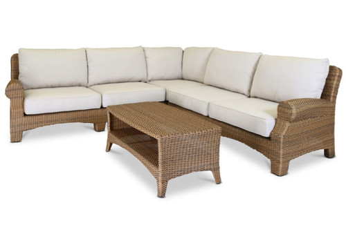 Santa Cruz Sectional with cushions in Canvas Flax with self welt