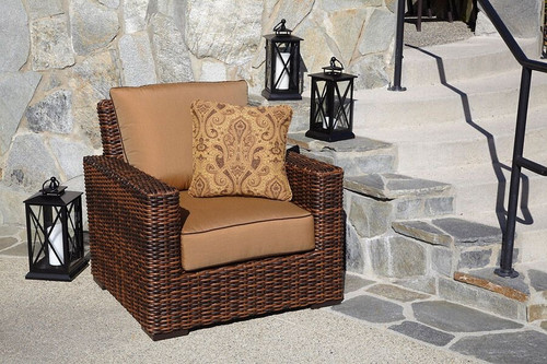 Montecito Club Chair with cushions in Canvas Cork with Canvas Bay Brown welt