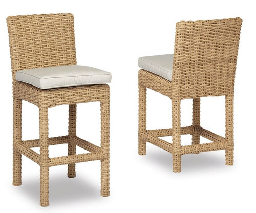 Leucadia Barstool with cushions in Canvas Flax with self welt