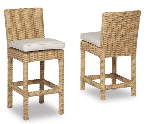Leucadia Counter Stool with cushions in Canvas Flax with self welt