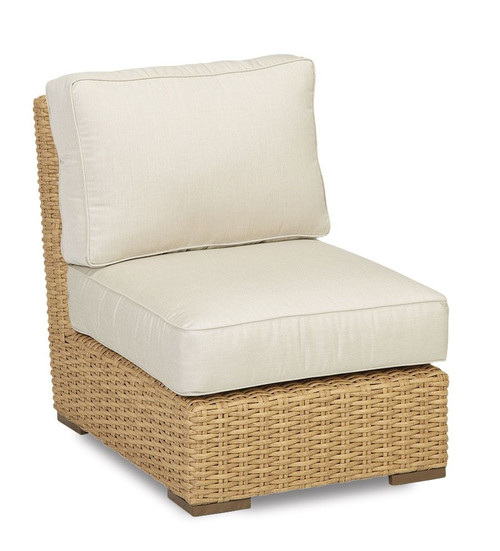 Leucadia Armless Club Chair with cushions in Canvas Flax with self welt