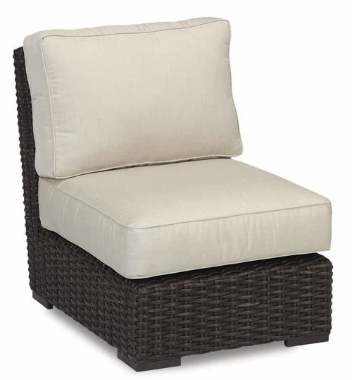 Cardiff Armless Club Chair with cushions in Canvas Flax with self welt